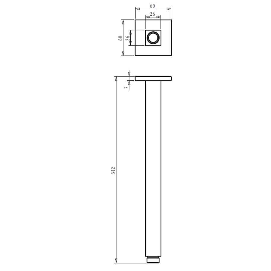 Jazz Ceiling Shower Arm 300mm