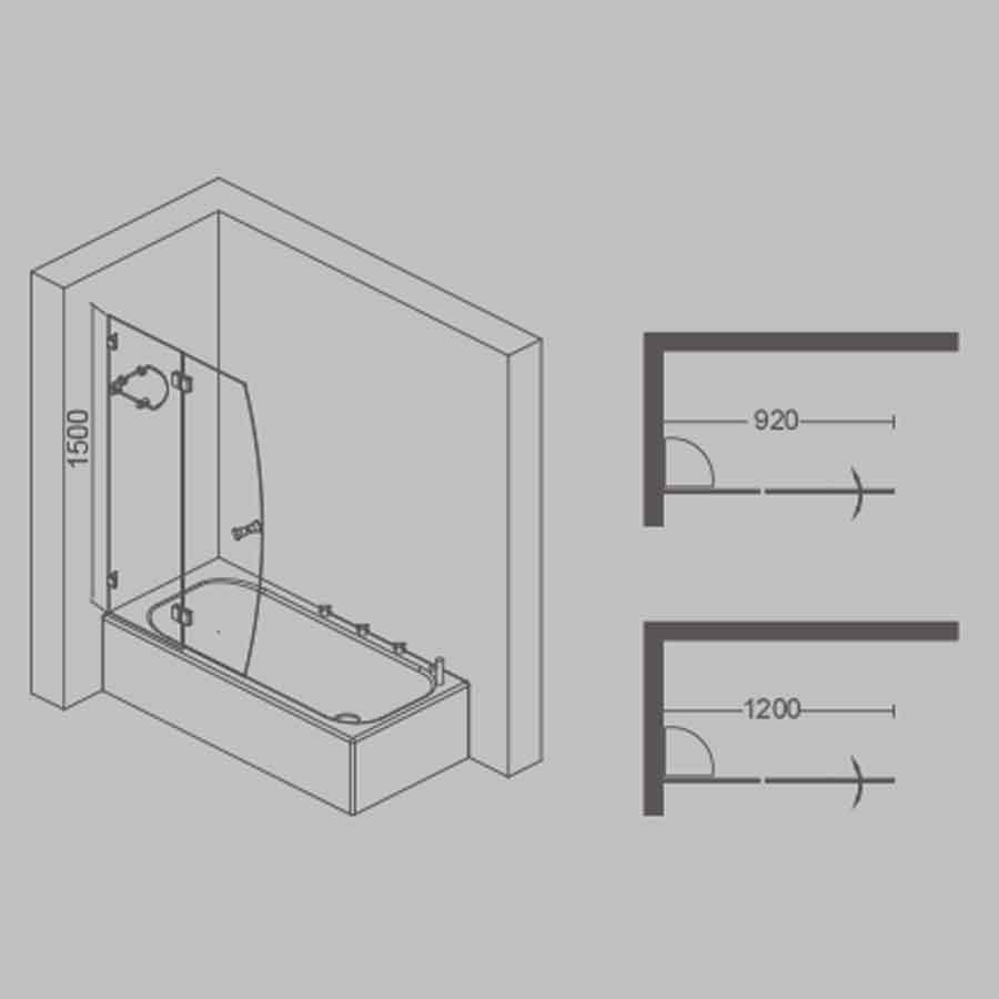 Double Sail Bath Screen (550+650)x1500
