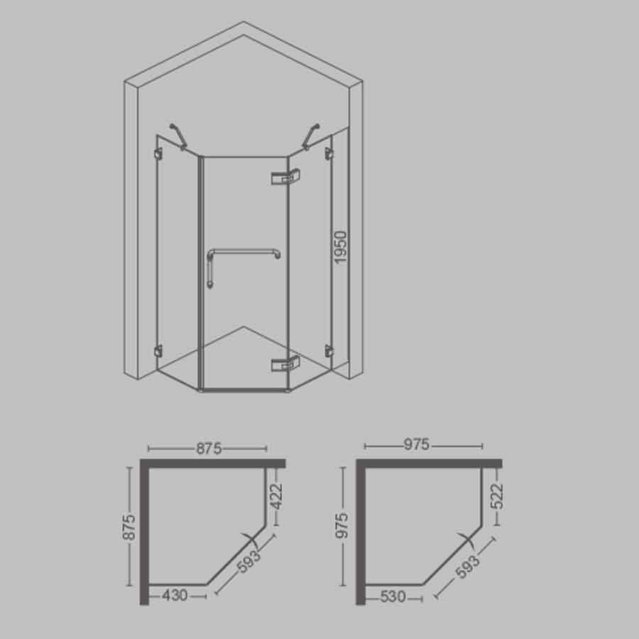 Diamond Frameless Shower Screen 900