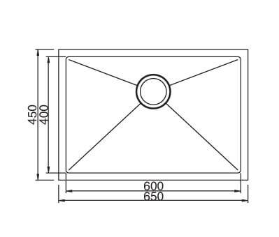 SS Sink 650x450x200 Sq