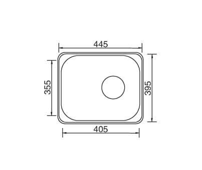Kitchen Sink Single Bowl 445x395x180