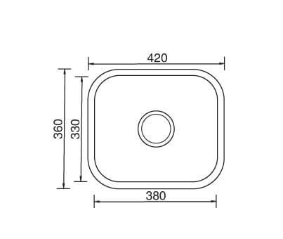 Undermount Sink 420x360x170